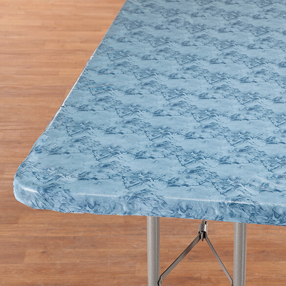 Marbled Elasticized Banquet Table Cover - View 1