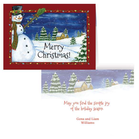 Festive Snowman Personalized Card Set of 20