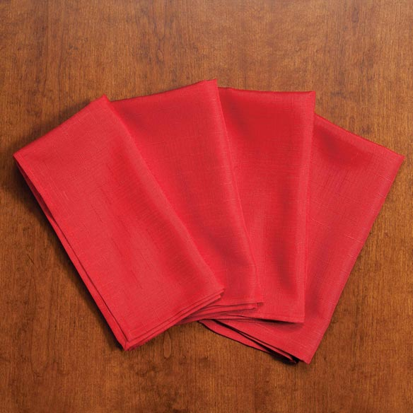 Solid Red Fabric Napkins, Set of 4