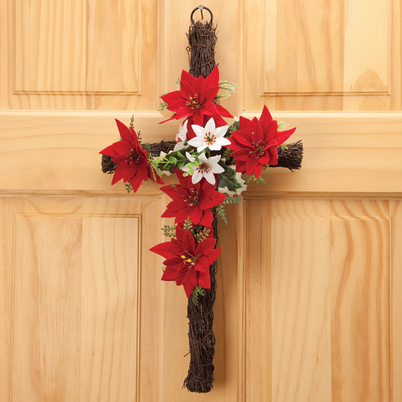 "18"" Grapevine Christmas Poinsettia Cross"