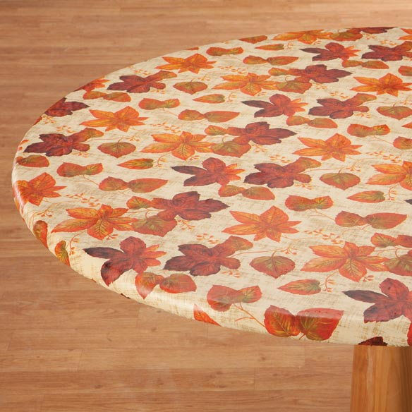 Autumn Leaves Elasticized Vinyl Table Cover - View 1