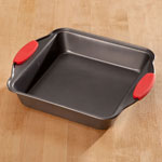 New - Square Cake Pan with Red Silicone Handles