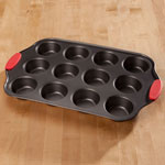 Home-Style Kitchen - 12 Cup Muffin Pan with Red Silicone Handles