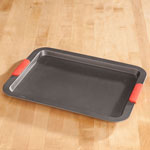 Bakeware & Cookware - Large Baking Sheet with Red Silicone Handles