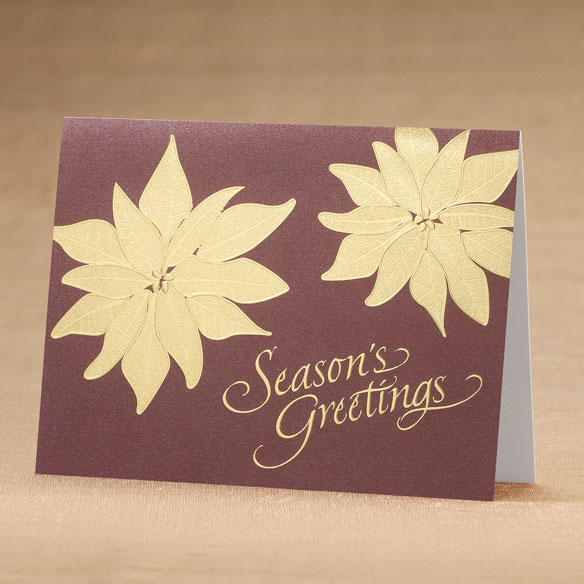 Golden Poinsettia Holiday Cards - Set of 18 - View 1