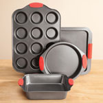 Home-Style Kitchen - Baker's Essentials Baking Set with Red Silicone Handles