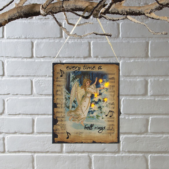 Lighted Get Your Wings Ornament Canvas