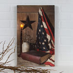 Decorations & Storage - Lighted God & Country Canvas