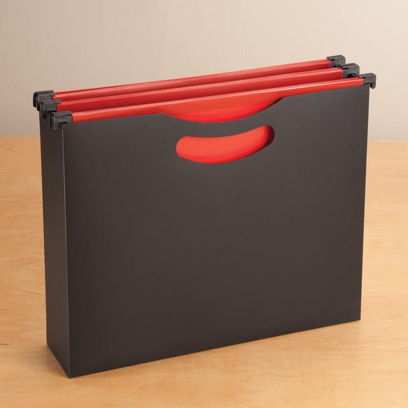 Portable Hanging File Box with Folders