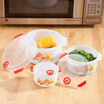 Kitchen - Floral Microwave Pot Set