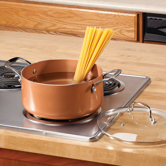 Ceramic Non-Stick Sauce Pan with Lid, 5 Qt.
