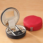 New - Round Travel Jewelry Case