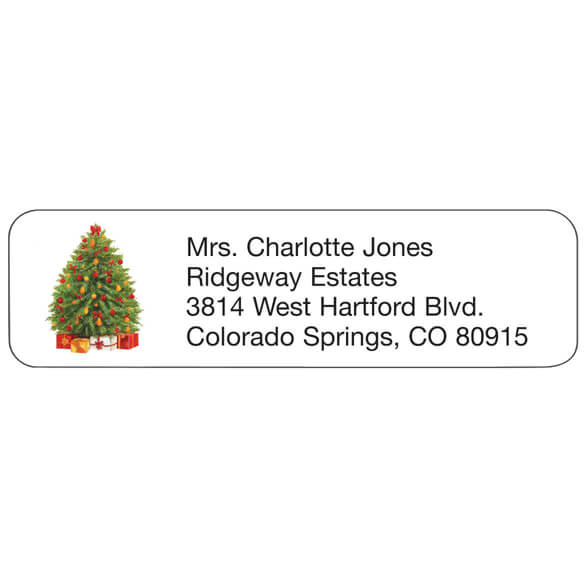 Personal Design Labels Festive Tree, Set of 200