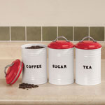 Food Storage - Vintage Style Tea, Coffee and Sugar Canisters - Set of 3