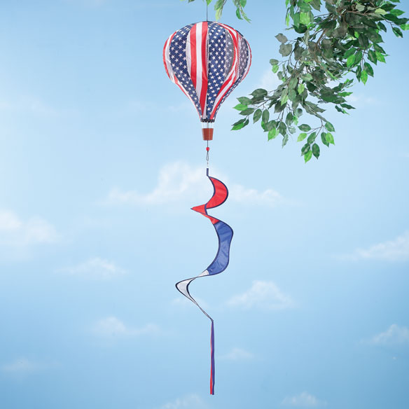 Patriotic Hot Air Balloon Wind Spinner