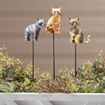 Outdoor - Resin Cat Planter Stakes by Maple Lane Creations™ - Set of 3