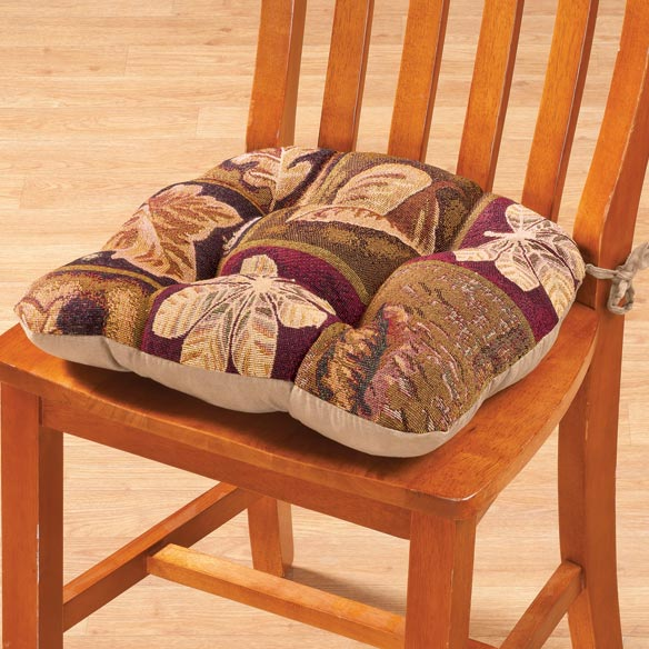 Reversible Plaid Leaf Chair Pad - View 1