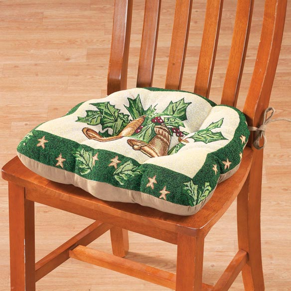 Reversible Holiday Bells Chair Pad