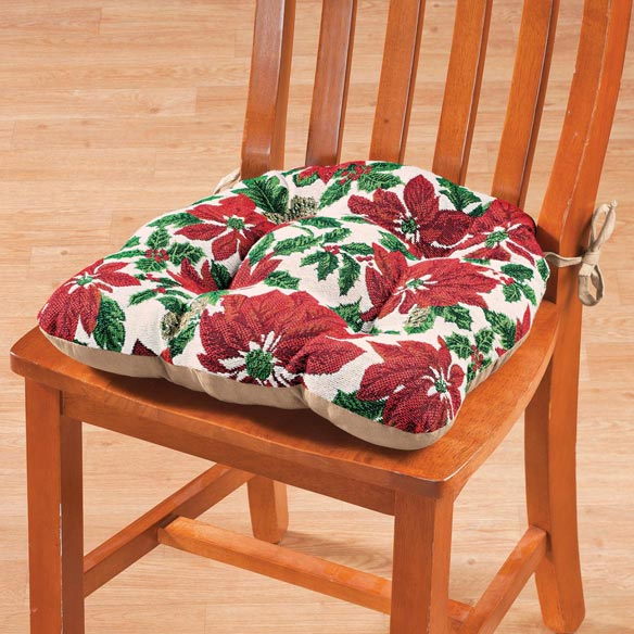 Reversible Christmas Poinsettias Chair Pad