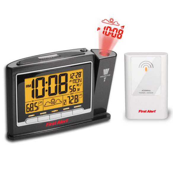 First Alert® Radio Controlled Weather Projection Clock