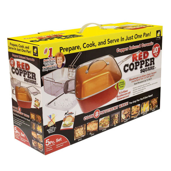 As Seen on TV Red Copper™ Square Pan 5 Piece Set