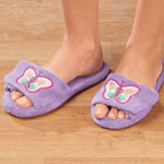 Footwear & Hosiery - Lavender Embroidered Butterfly Slippers