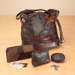 New - Patchwork Leather Handbag - 4-Piece Set