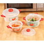 Bakeware & Cookware - Microwave Pots with Apple Design, 6 Piece Set