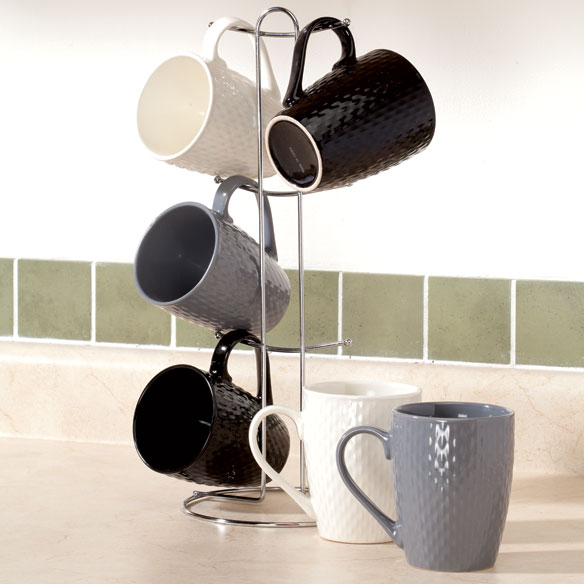 Textured Mug Set with Stand, 7 Pieces