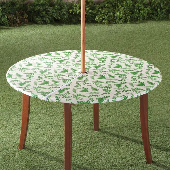 Patio Umbrella Covers With Zipper: Garden Greenery Zippered Elasticized Umbrella Table Cover