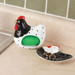 Ceramic Rooster Spoon Rest & Scrubby Holder Set