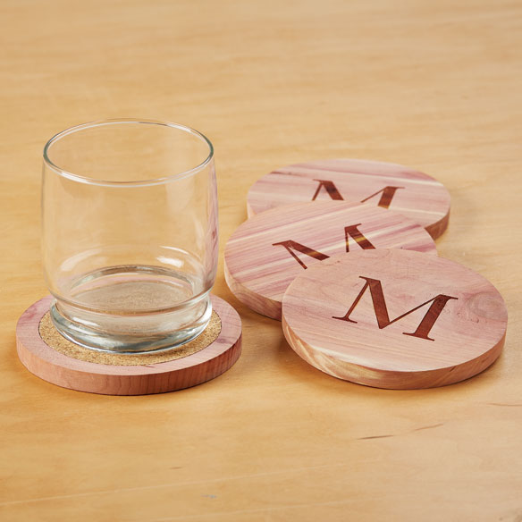 Woodlore® Personalized Cedar Coasters, Set of 4 - View 1