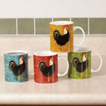 New - Country Morning Rooster Cups, Set of 4