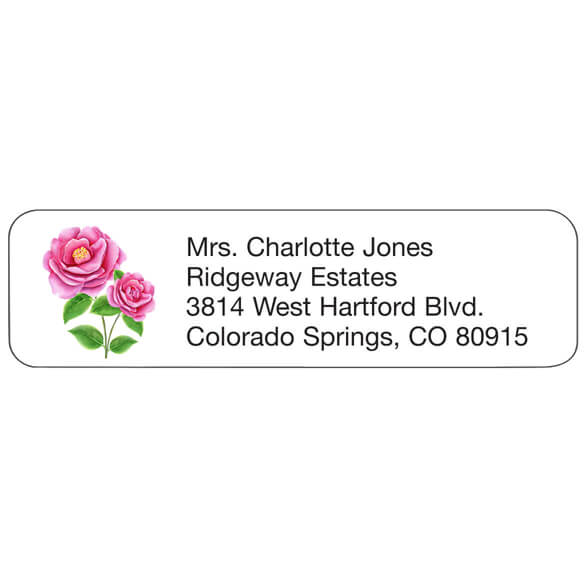 Personal Design Labels Pink Flowers