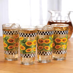 Kitchen - Sunflowers & Check 16-oz. Glasses, Set of 4