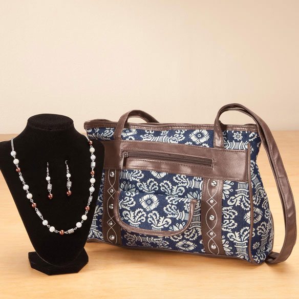 Print Handbag and Jewelry Set