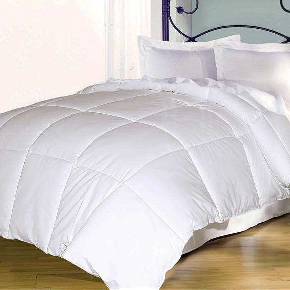 240 Thread Count White Goose Down and Feather Comforter