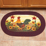 New - Rooster in Sunflowers Braided Rug by OakRidge™