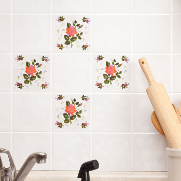 Self-Adhesive Red Rose Wall Tile Decals, Set of 20