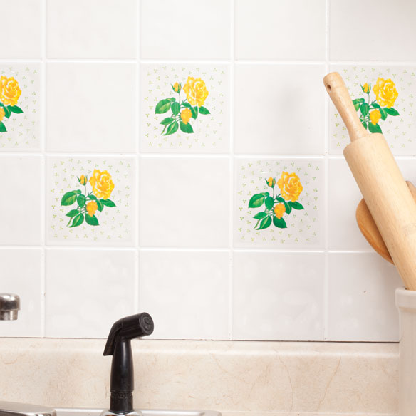 Self Adhesive Yellow Rose Wall Tile Decals Set Of 20 Walter Drake