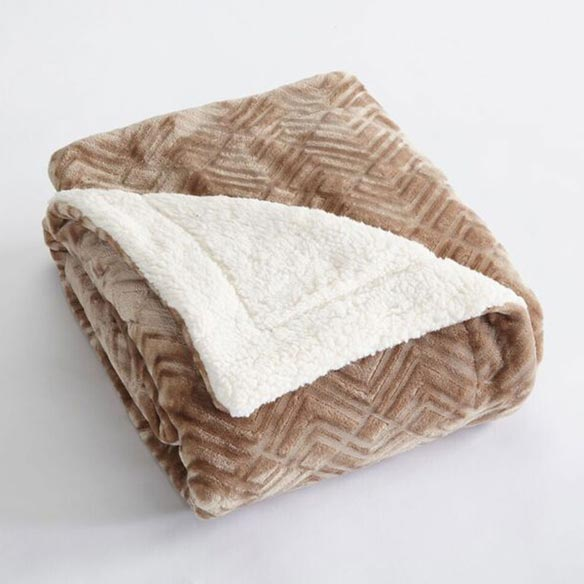 Reversible Berber Velvet Plush Luxury Blanket, King, Taupe