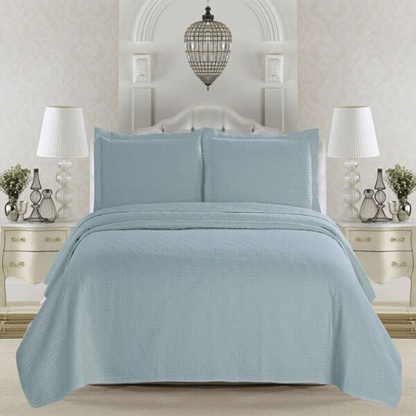 Emerson Collection 3-Piece Quilt Set, King, Cloud Blue