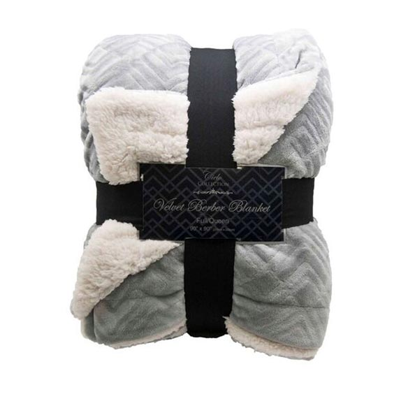 Reversible Berber Velvet Plush Luxury Throw, Pewter