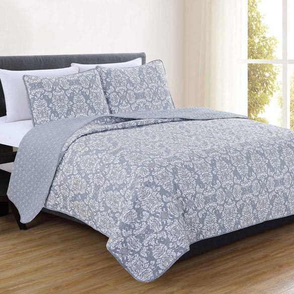 Isabel Collection 3-Piece Quilt Set, Twin, Gray