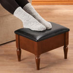 Accent Furniture - Faux Leather Wooden Foot Rest with Storage by OakRidge™
