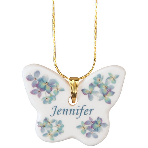 Personalized Porcelain Butterfly Pendant