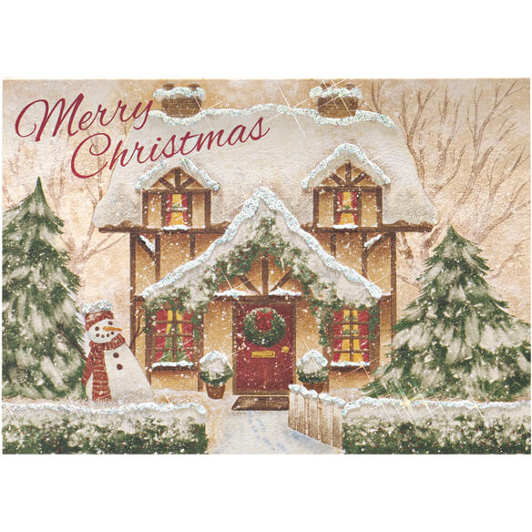 Personalized Cozy Cottage Christmas Cards - Set of 20