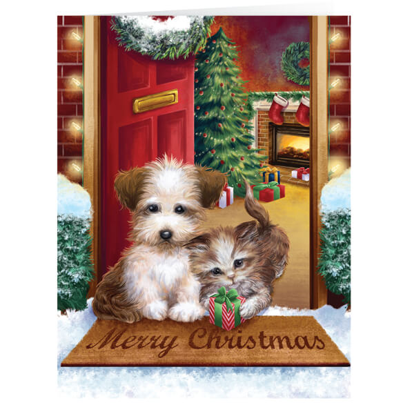 Personalized Puppy and Kitten  Christmas Cards - Set of 20
