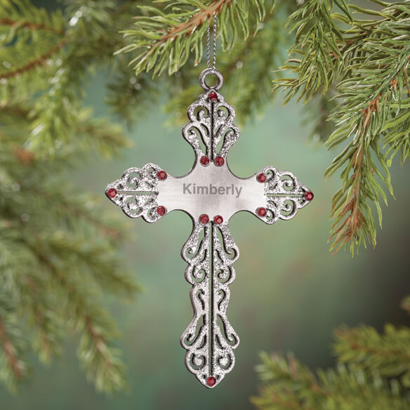 Personalized Birthstone Cross Pewter Ornament