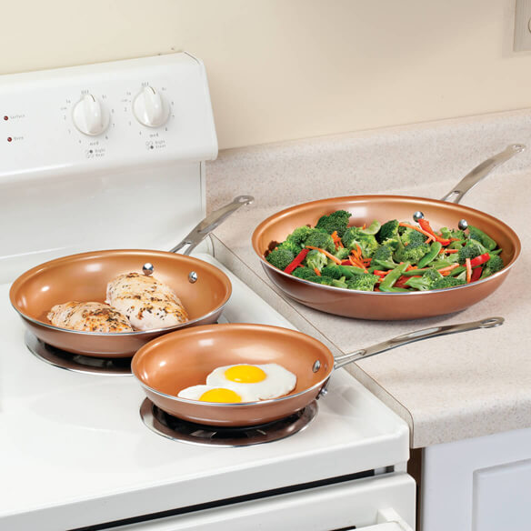 Ceramic Copper Non-stick Fry Pan Set of 3 - View 1